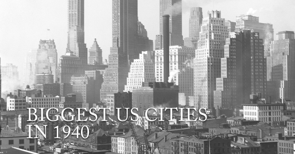 The 25 Biggest US Cities in 1940 Compared to Today